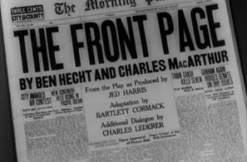 The Front Page Blu-ray Review (1931)